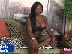 Busty black trans babe twerking and tugging